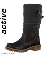 Stan Tamaris Black Combination Leather and Textile Boot 1-26432-25