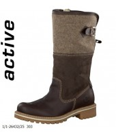 Stan Tamaris Brown Combination Leather and Textile Boot 1-26432-25
