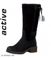 Lacy Tamaris Black Nubuc Leather and Suede Boot 1-26534-25