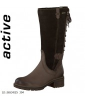 Lacy Tamaris Brown Nubuc Leather and Suede Boot 1-26534-25