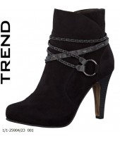 Lindy Tamaris Black Imi Suede Ankle Boot 1/1-25904-23