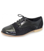 Regina Lunar Black Imi Patent and Suede Black Laced Shoe FLC664