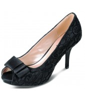 Lacey Lunar Black Embroidered Court Shoe FLR213