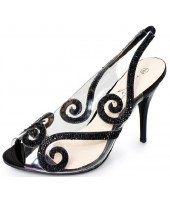 Rosa Lunar Black Sequin Transparent Evening Shoe Sandal FLR231