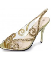 Rosa Lunar Gold Sequin Transparent Evening Shoe Sandal FLR231