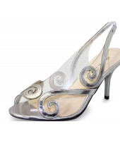 Rita Lunar Siver Transparent Evening Shoe Sandal FLR235