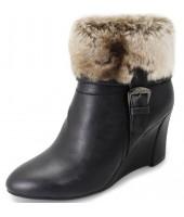 Jersy Lunar Black Imi Fur Wedge Boot GLC476