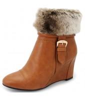 Jersy Lunar Tan Imi Fur Wedge Boot GLC476