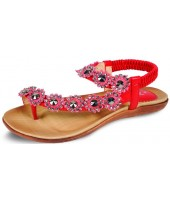 Deli Lunar Red Diamante Flower Toe Loop Sandal JLH601