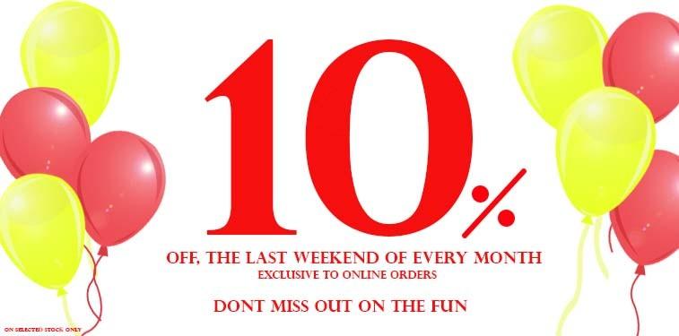10% off lastweekend oofthe month